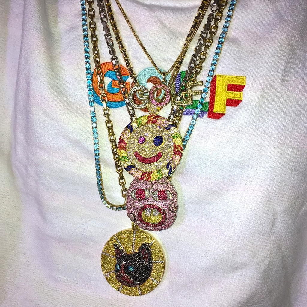 Tyler the creator cherry bomb pendant necklace chain iced out shopgld ifandco