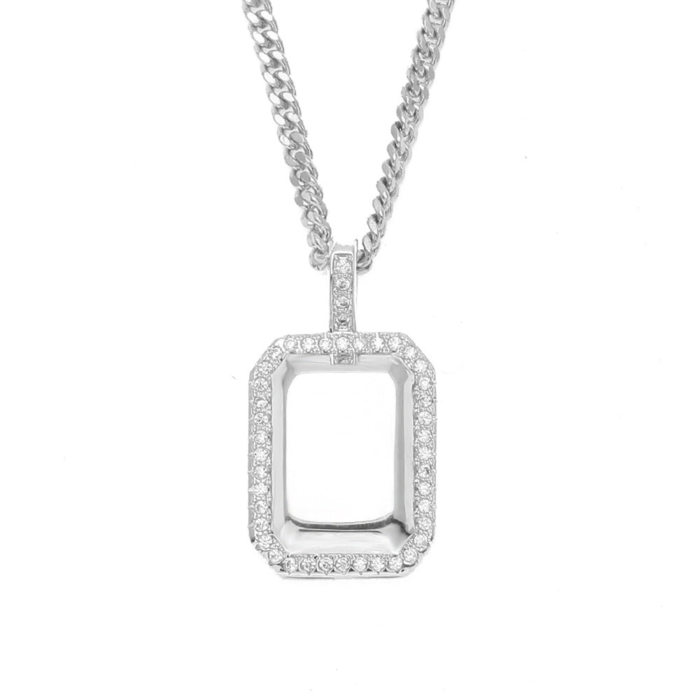 Iced Out Dog Tag Bar Style Pendant Simulated Diamonds Free Chain Charm