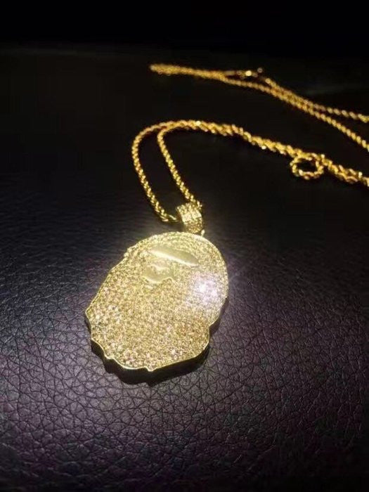 Bape pendant necklace rope chain in gold and diamond