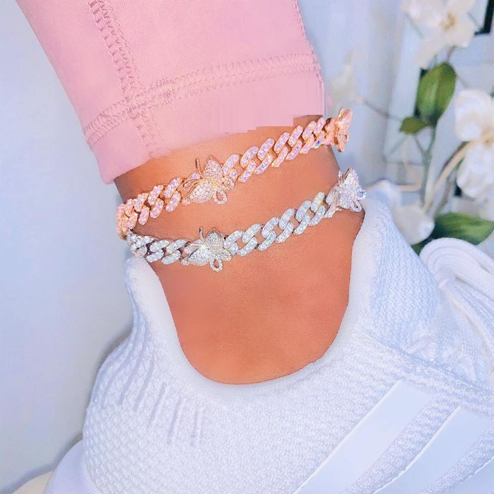 kylie jenner butterfly travis scott cuban links chain anklet bracelet diamond rich girls shopgld