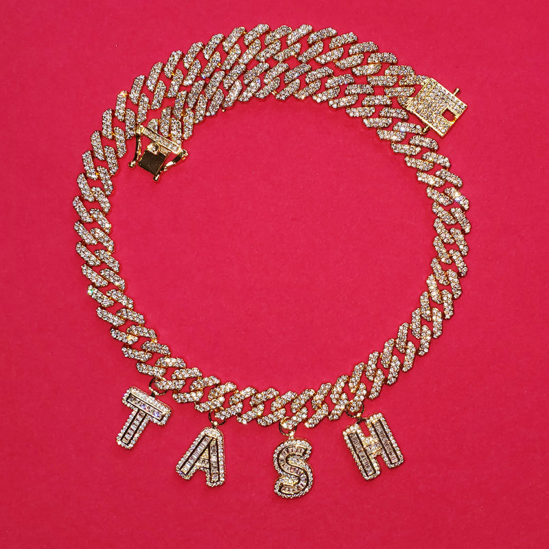 miami cuban links baguette custom a-z letter shopgld ifandco hip hop jewelery bracelet