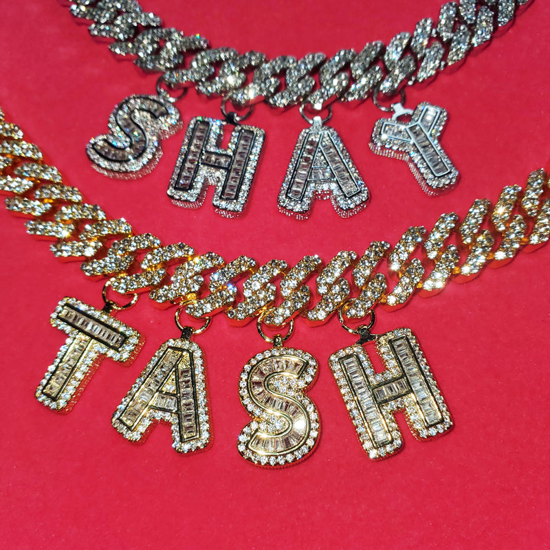 miami cuban links baguette custom a-z letter shopgld ifandco hip hop jewelery