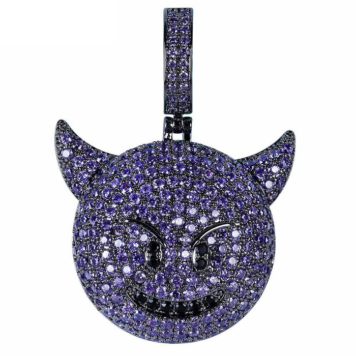 Iphone purple devil Emoji pendant & necklace with free matching chain ifandco shopgld vvs diamond