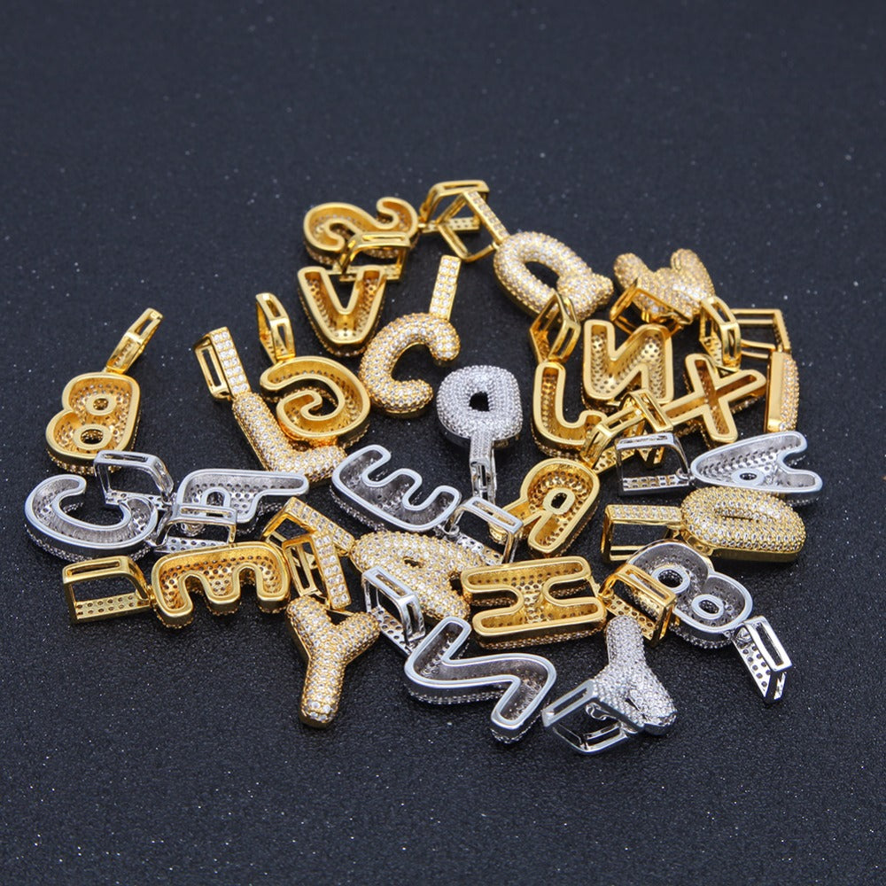 A-Z Small Bubble Letters Necklaces & Pendant Custom Name Charm Gold Silver Hip Hop Jewelry Cuban chain