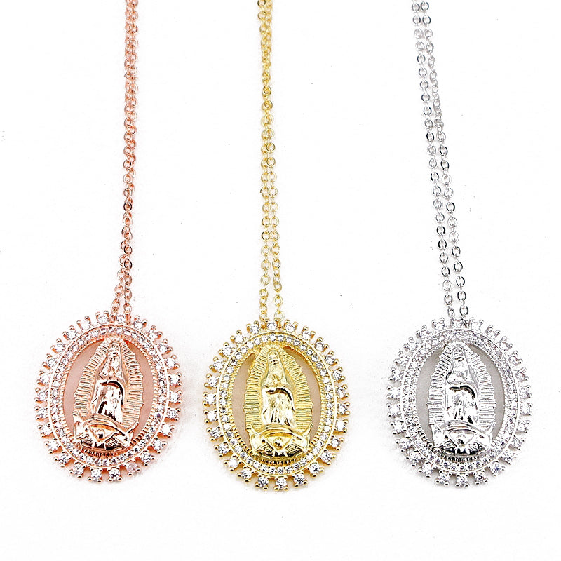 Virgin Mary Pendant Guadalupe Medallion Charm necklace chain vvs diamond ifandco