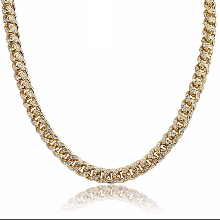 Miami Cuban Chain 10mm Necklace Chain For Men Gold Silver Color Iced Out Micro Pave Cubic Zircon Hip Hop Jewelry shopgld