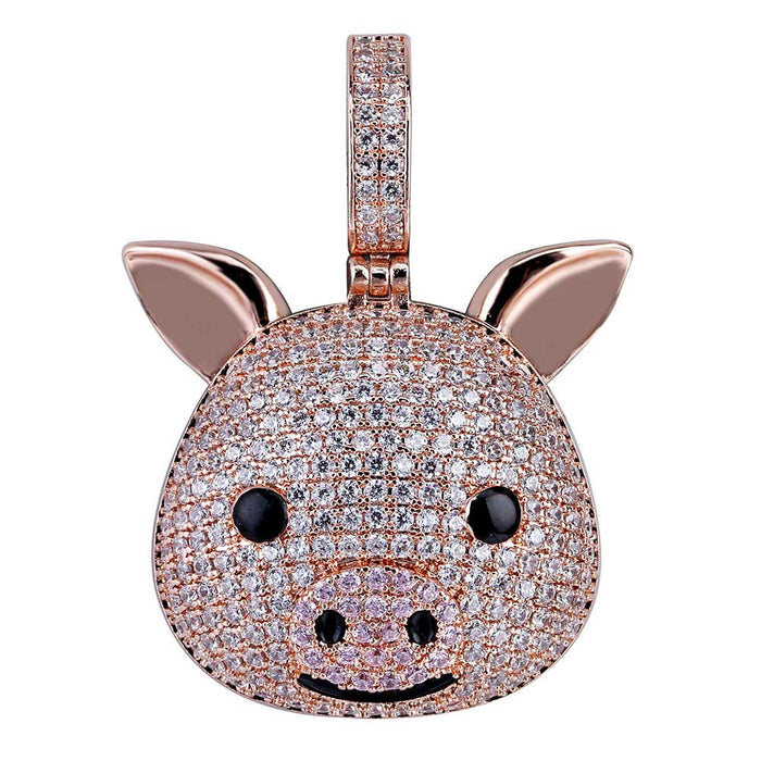 Rose gold Iced Piggy Pig Emoji pendant & necklace with free matching chain included.