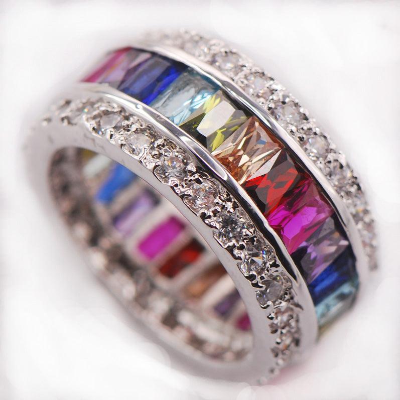 multicolored gemstone ring princess cut vvs affordable hip hop jewelry