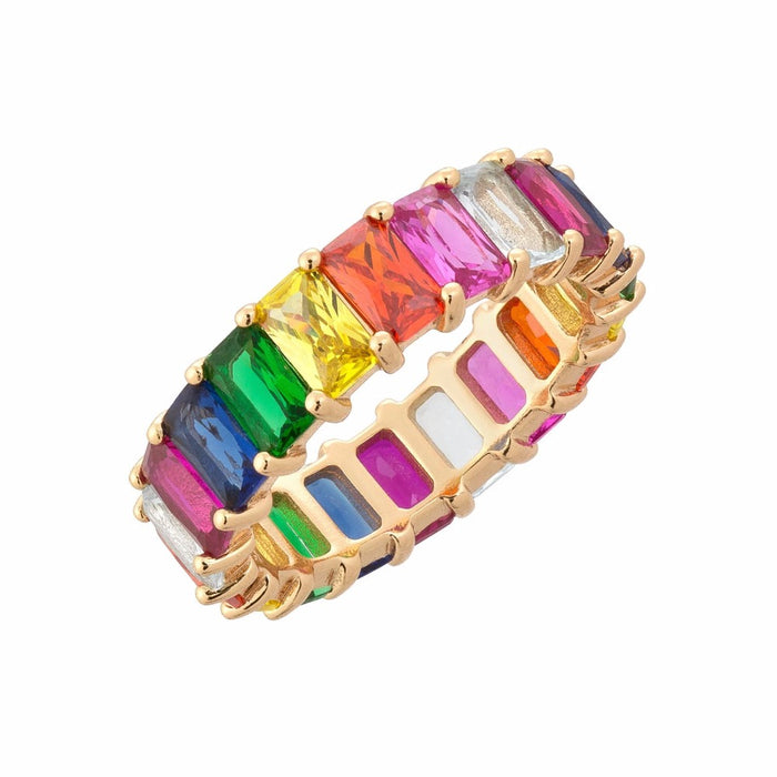 Gold filled rainbow square baguette engagement ring eternity band ring