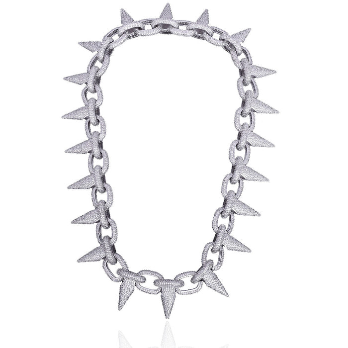 14k Spiked Choker Bike Chain LIL UZI VERT BENBALLER ifandco Fully Iced in White Diamonds
