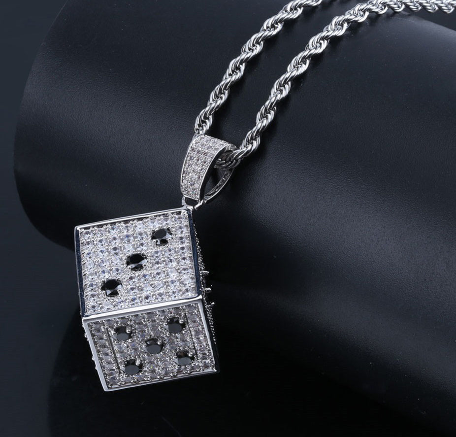 fully iced out dice diamond vvs pendant necklace chain jacob ifandco