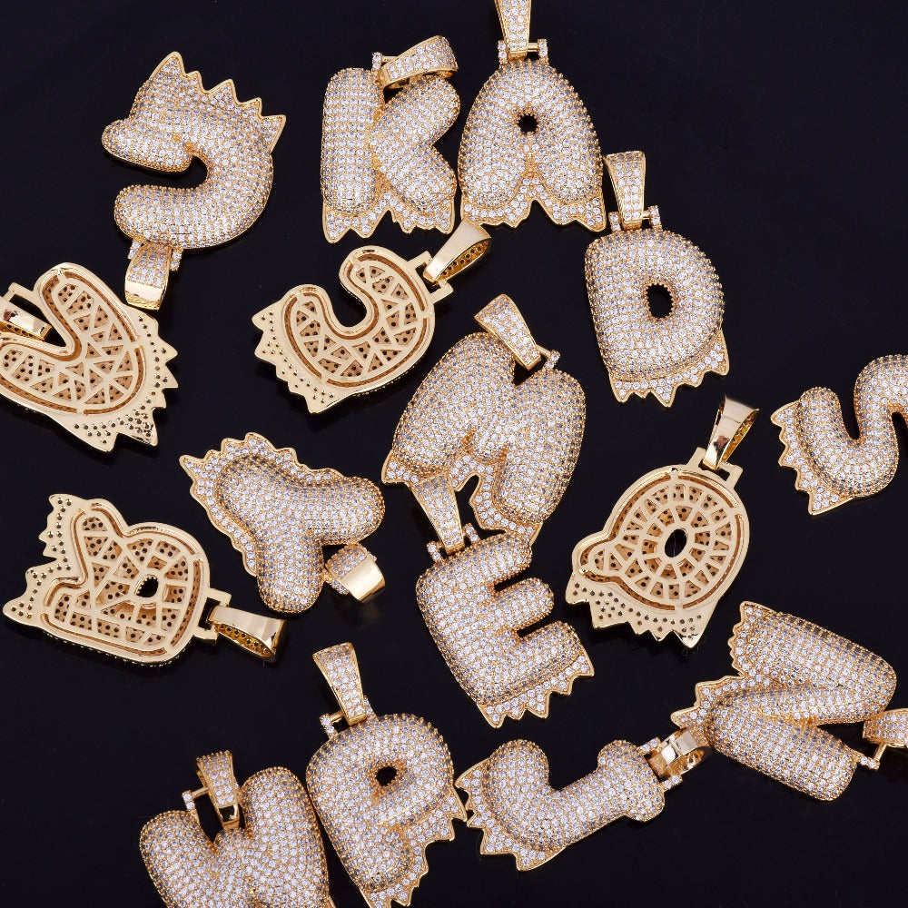 Custom Bubble Letters Initial A-Z Alphabet FIRE flame dripping cardi b drip drip diamond necklace 14K GOLD silver