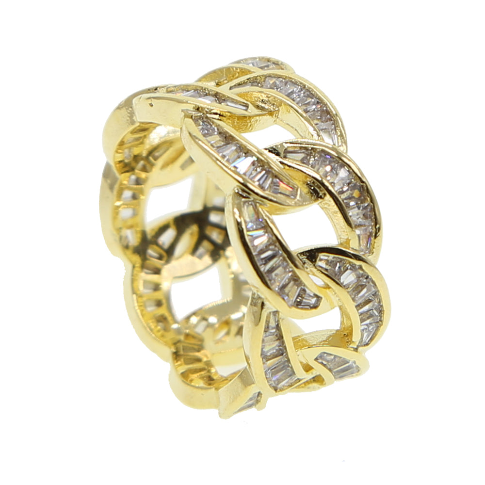 Baguette Miami Cuban link ring yellow gold silver ifandco vvs diamond affordable hip hop jewelry