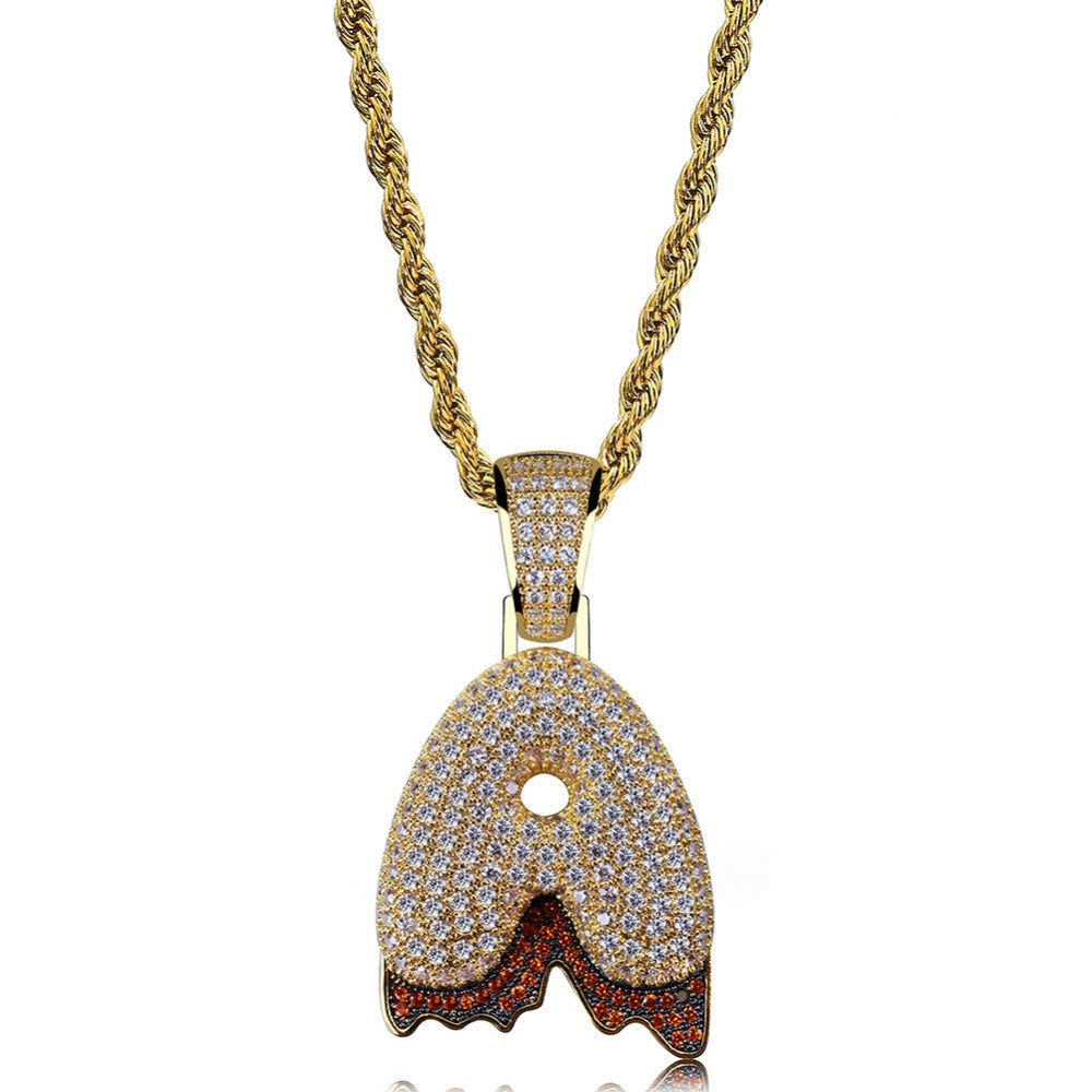Custom Bubble Letters Initial A-Z Alphabet RED fire flame dripping cardi b drip drip diamond necklace 14K GOLD silver