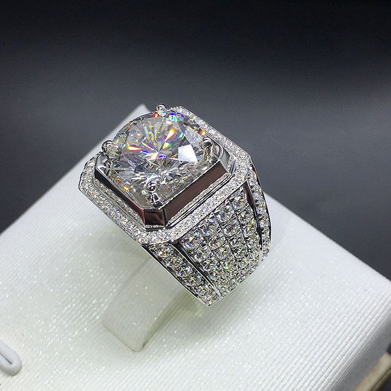 fully iced out single stone micro pave set vvs diamond ring affordable hip hop jewelry