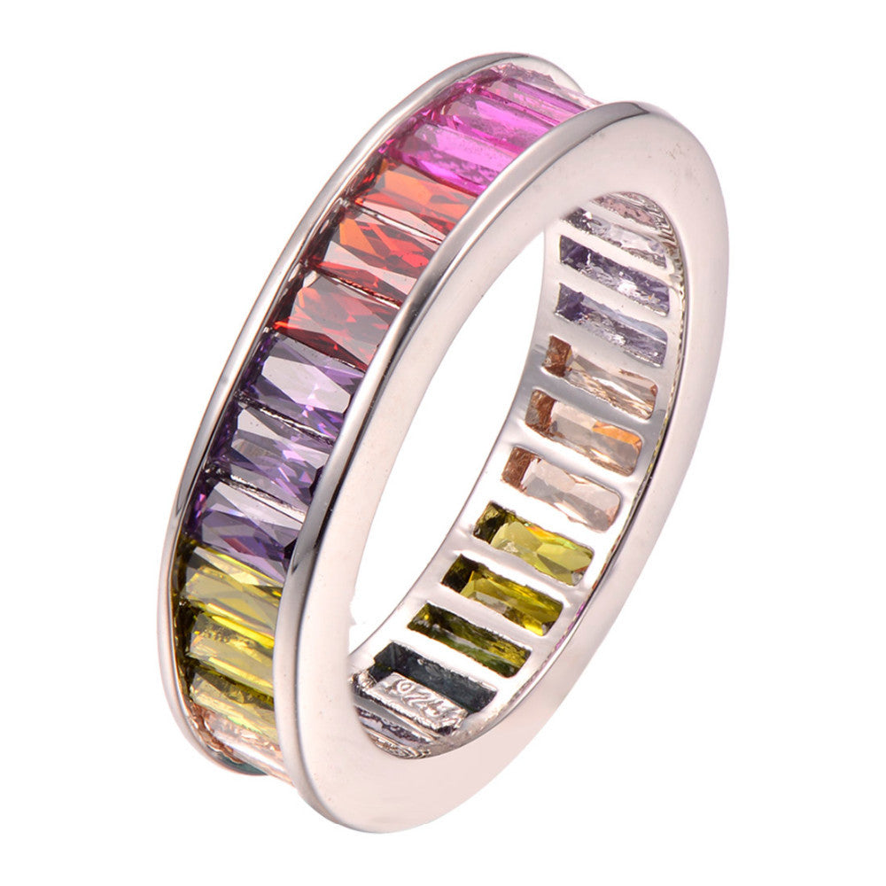 multicolored baguette diamond gemstone ring ifandco affordable hip hop jewelry