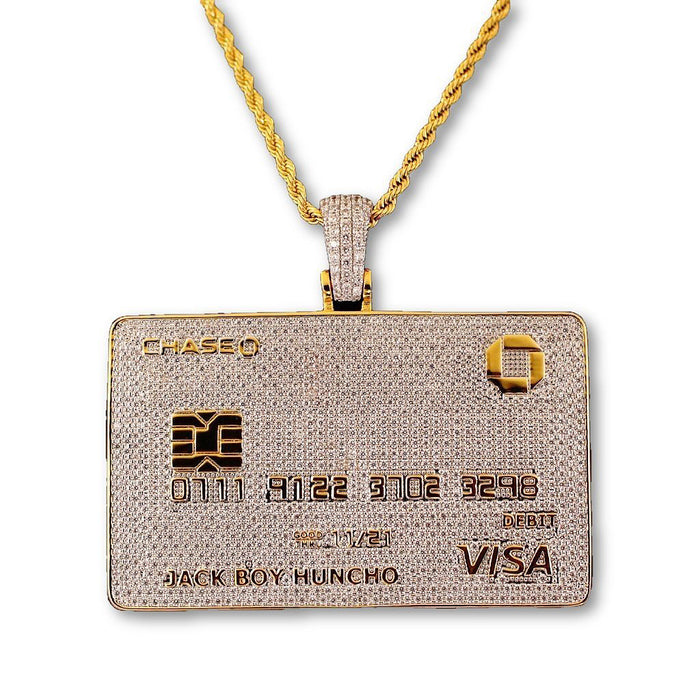 iced out jack boy huncho credit card pendant necklace chain travis scott quavo