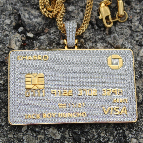Custom Fully Iced Jack Boy Huncho Credit Card Pendant