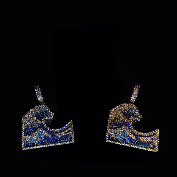 Emoji Wavey Pendant Necklace Chain Fully Iced Out
