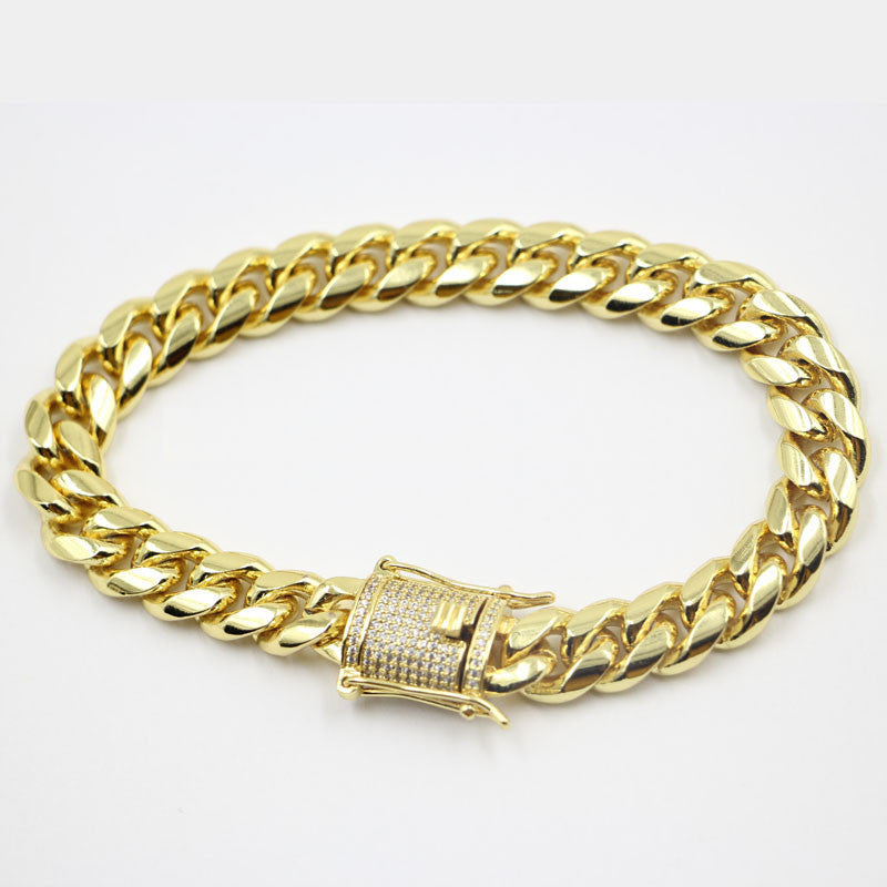 Cuban link bracelet with fully iced custom clasp