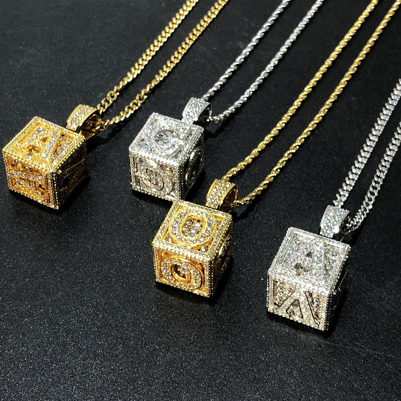 Men/'s Silver Iced Out Block Initial Number Nine 3D Pendant Chain