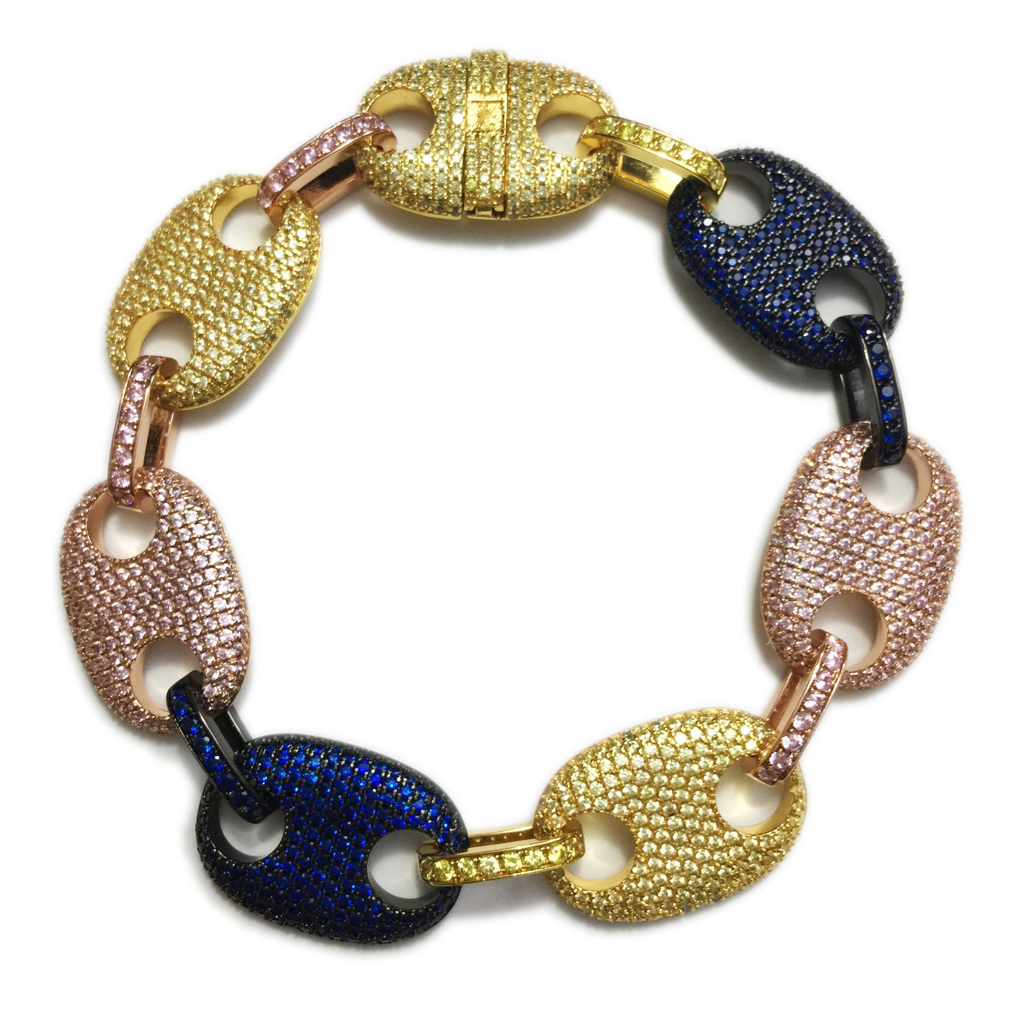 Iced out gucci link mariner link bracelet 18mm Multi-colored