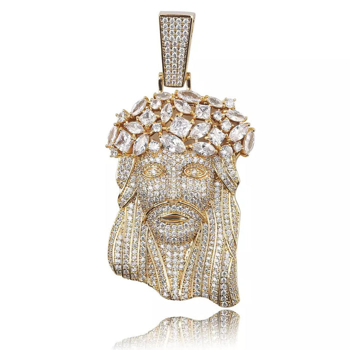 fully iced out standard jesus piece pendant necklace chain ifandco diamond vvs