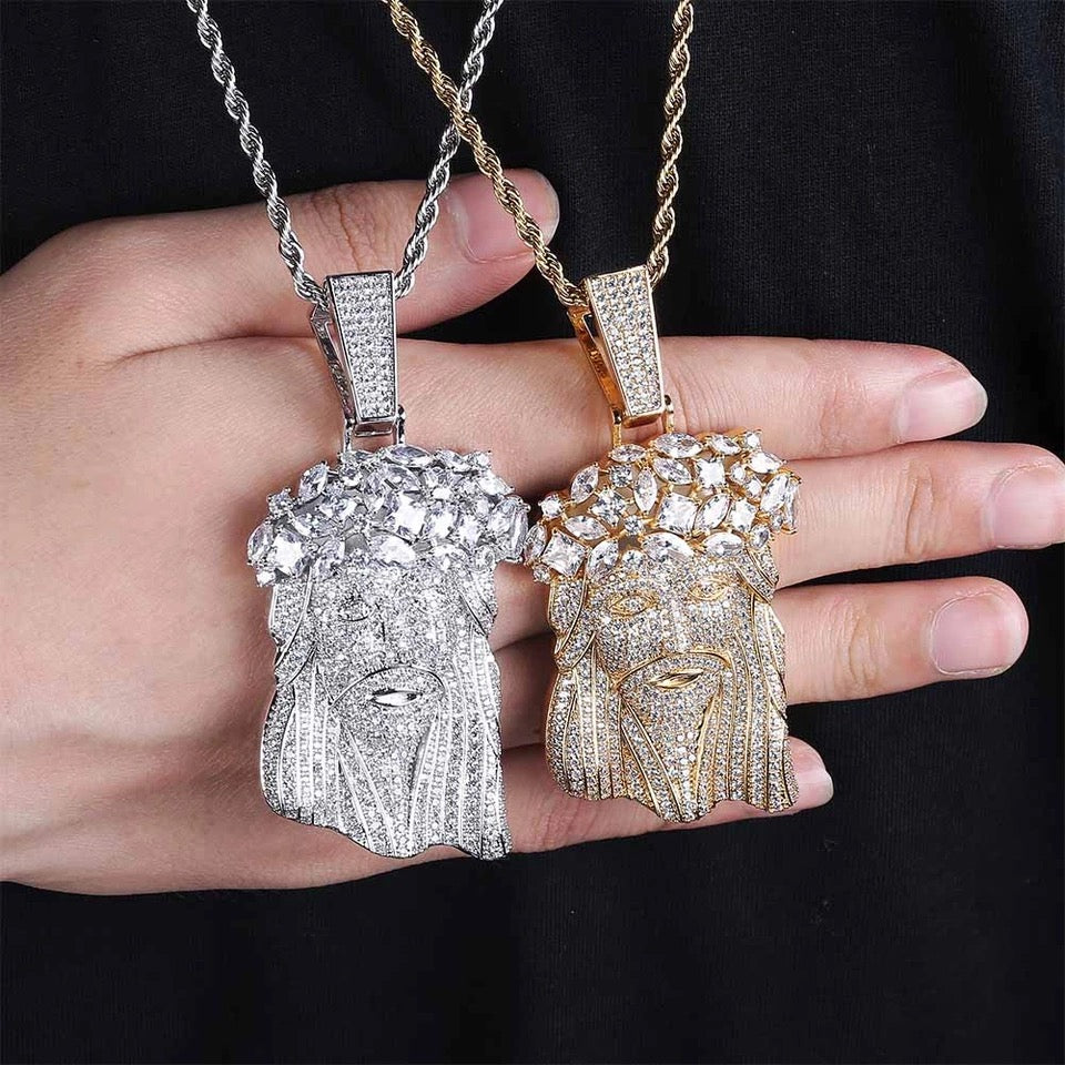 fully iced out standard kufi jesus piece pendant necklace chain ifandco diamond vvs