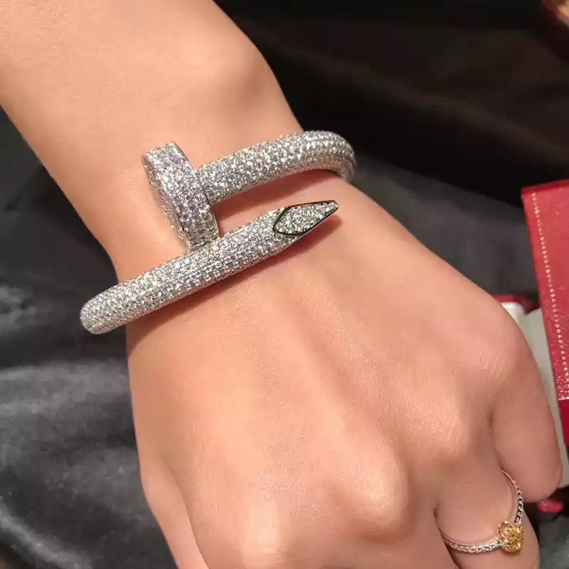 juste un clou fully iced nail bangle bracelet diamond vvs cartier ifandco