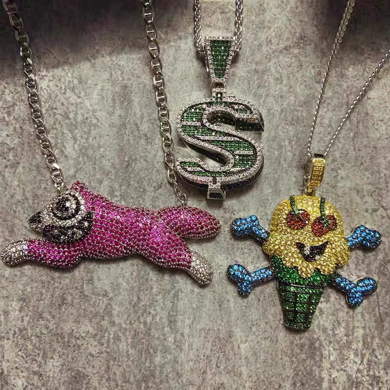 BBC ICECREAM dog Pendant necklace chain Nigo's Iconic Pieces dollar sign pharrell williams