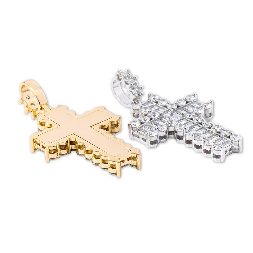 Vintage baguette cross pendant necklace free chain kanye west travis scott liluzivert vlone