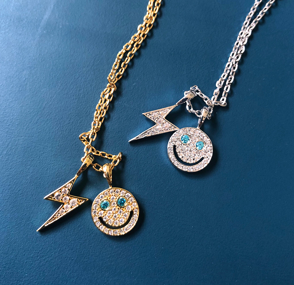 eyefunny smiling face thunder pendant necklace chain diamond jbalvin kim jones clot virgil offwhite