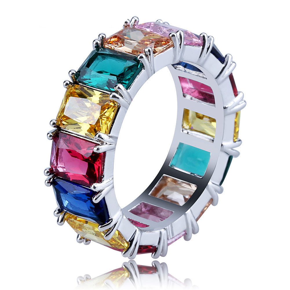 princess cut vvs diamond Eternity Ring custom made ifandco multicolored