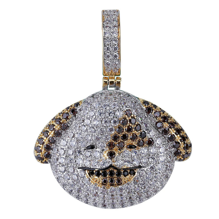 Iphone apple The dog puppy Emoji pendant & necklace in vvs simulated diamond ifandco shopgld