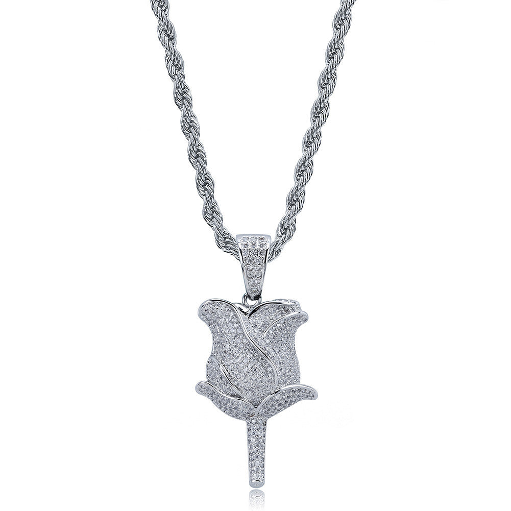 valentines gift rose pedant necklace free matching chain icebox diamond elliot eliantte