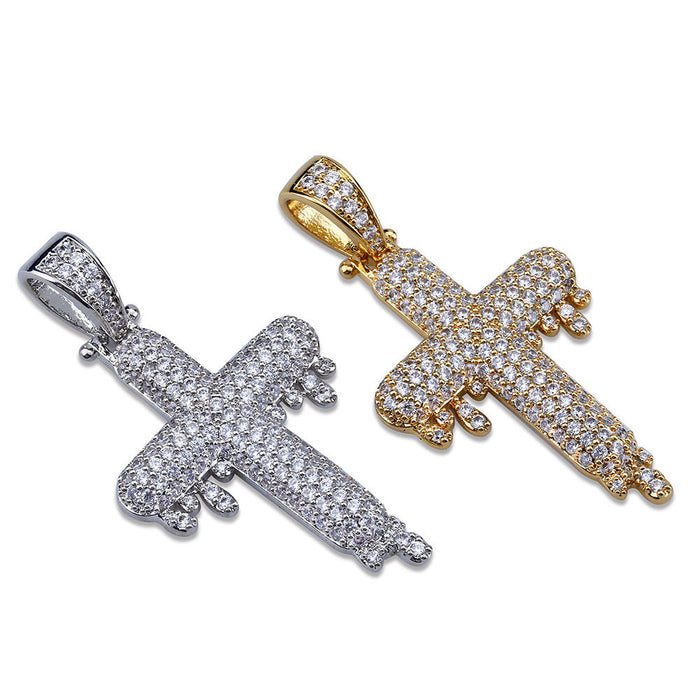 dripping cross pendant necklace chain quavo gifted saweetie icebox diamond ice