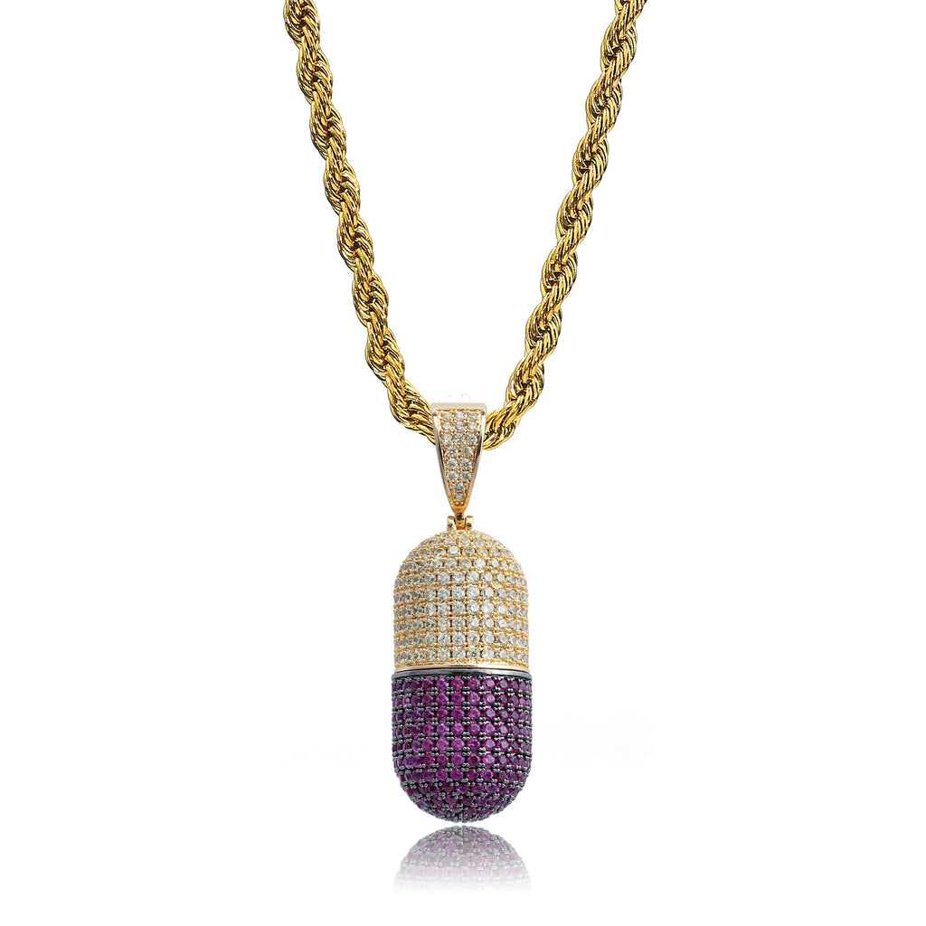 14K Gold Iced Out Detachable Pill Emoji Pendant vvs diamond ifandco shopgld