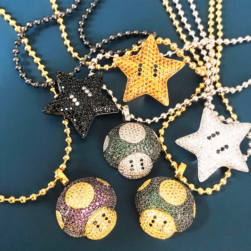 Super mario bro's star pendant necklace ball chain free matching chain ifandco pharrell mushroom