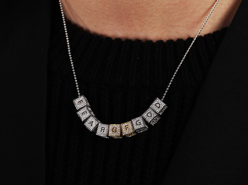 baby block letter custom necklace chain choker jesus is king kanye west rhude virgil off white