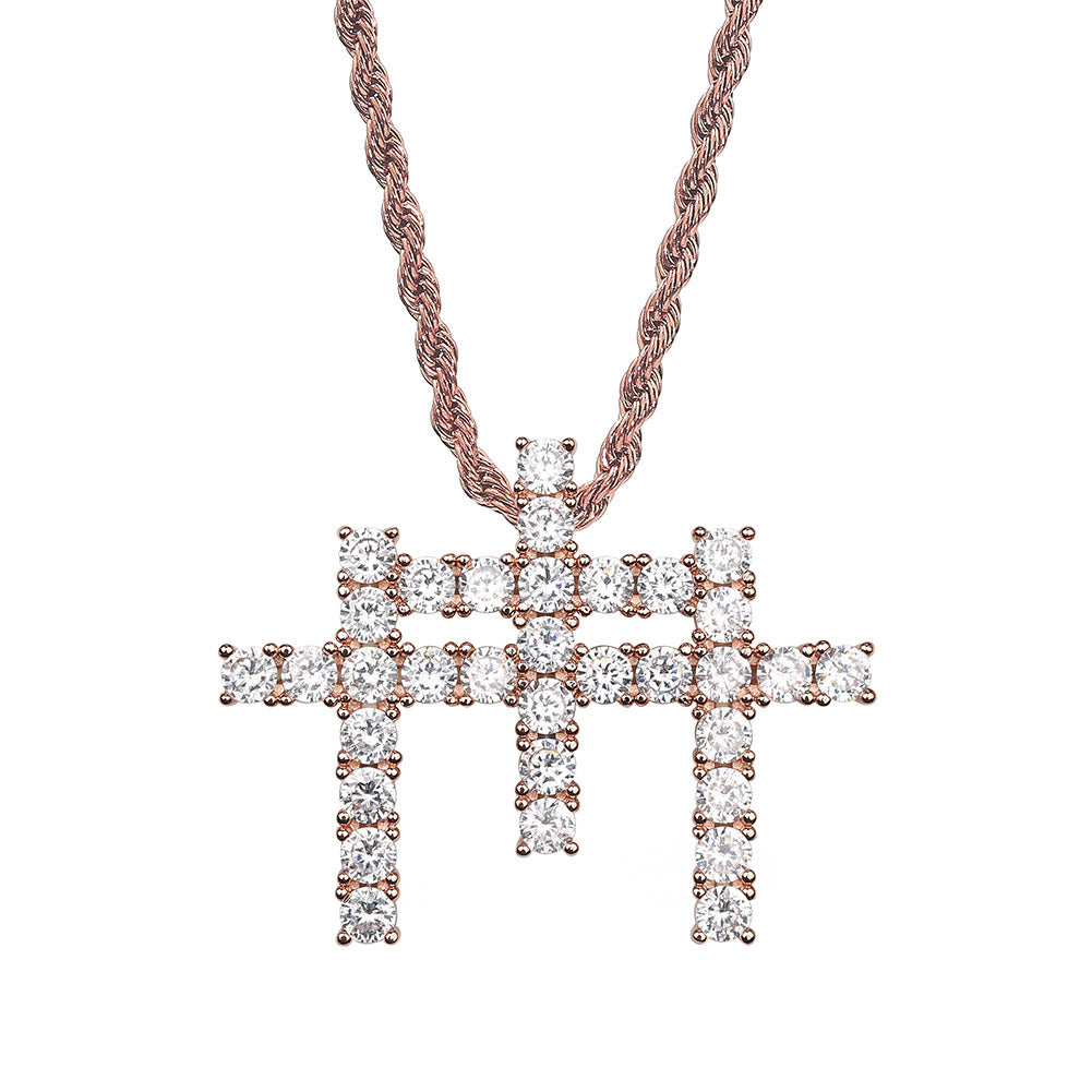GUNNA cross TRIPLE pendant & necklace with free matching chain included.