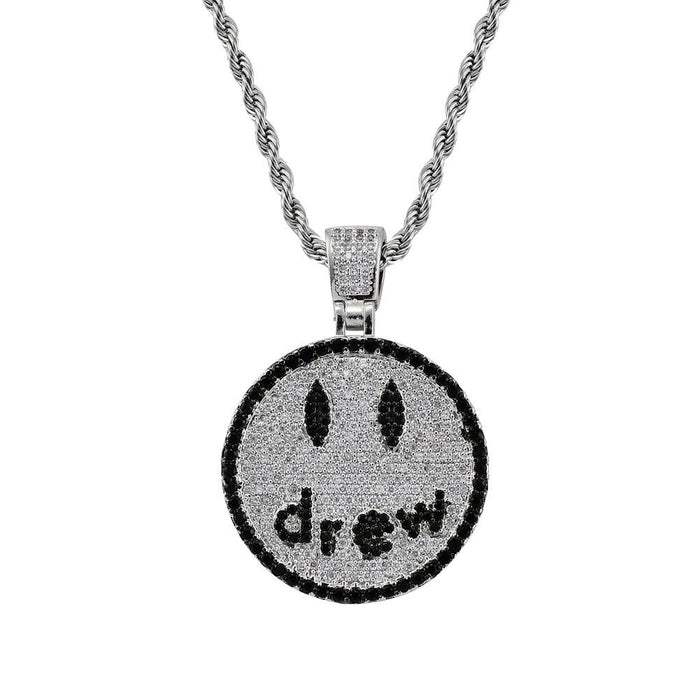 Drew Smiley face as seen on Justin bieber pendant necklace chain vvs ifandco diamond free