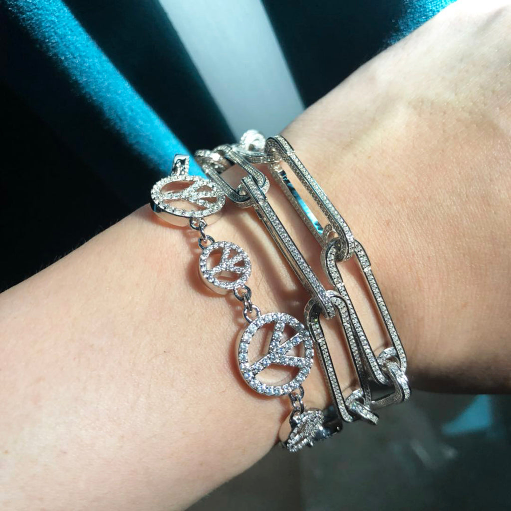 Safety pin pave bracelet - White Gold