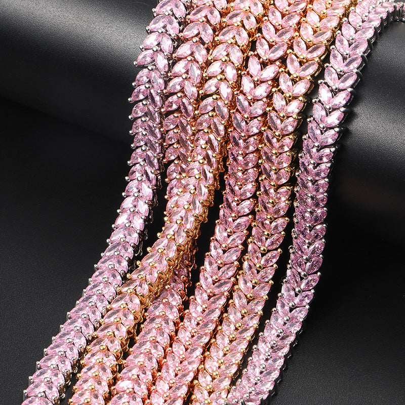 tennis chain necklace pink diamond hip hop custom jeweler ifandco shopgld