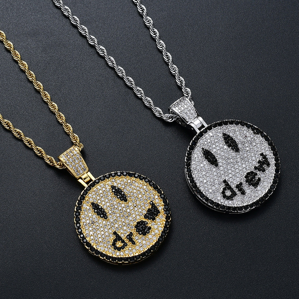 Drew Smiley face as seen on Justin bieber yummy wall necklace chain vvs ifandco diamond free