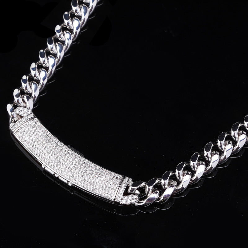 12mm cuban link necklace chain custom curvy clasp fully iced micro pave set diamond ifandco