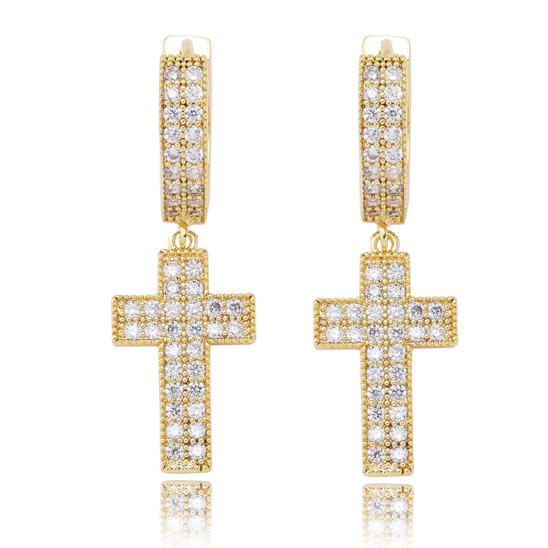 Dangling cross hoop earrings fully iced diamond ifandco shopgld