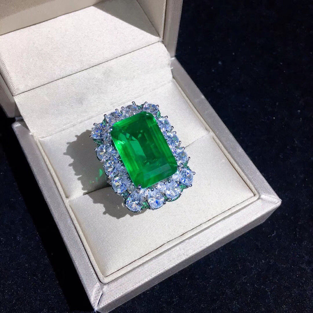 Zambian Emerald Cut Ring engagement rare vvs jeweler diamond tyler the creator playboi carti