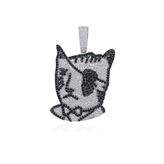 lil uzi vert tattoo cat pendant necklace chain luv free chain diamond vvs ifandco liluzivert