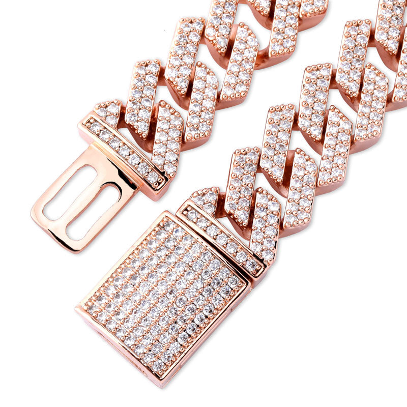 curb cuban link 14mm necklace chain fully iced custom clasp diamond ifandco