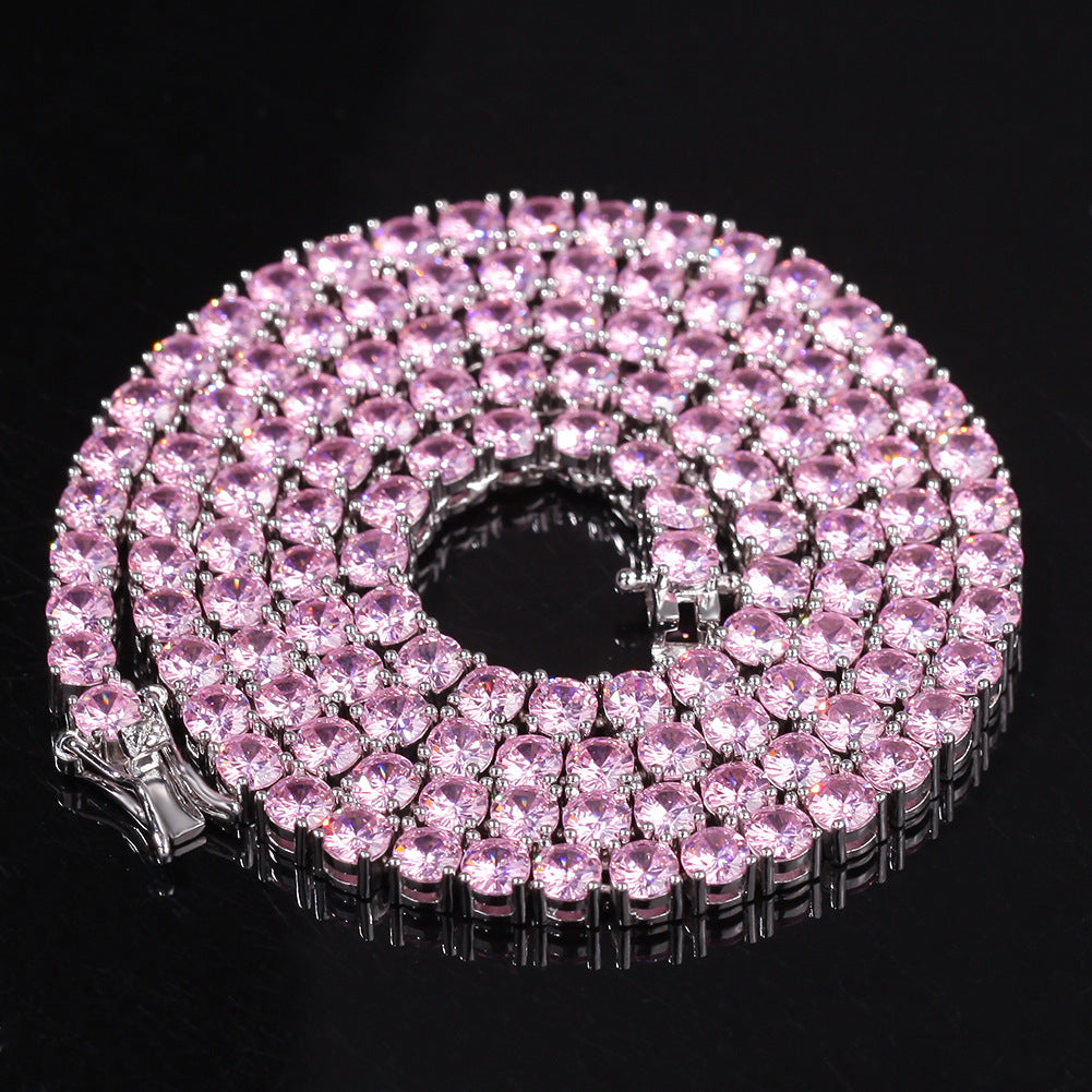 4MM Solitaire Pink Simulated Diamonds Tennis Chain ifandco kylie jenner cardi b shopgld